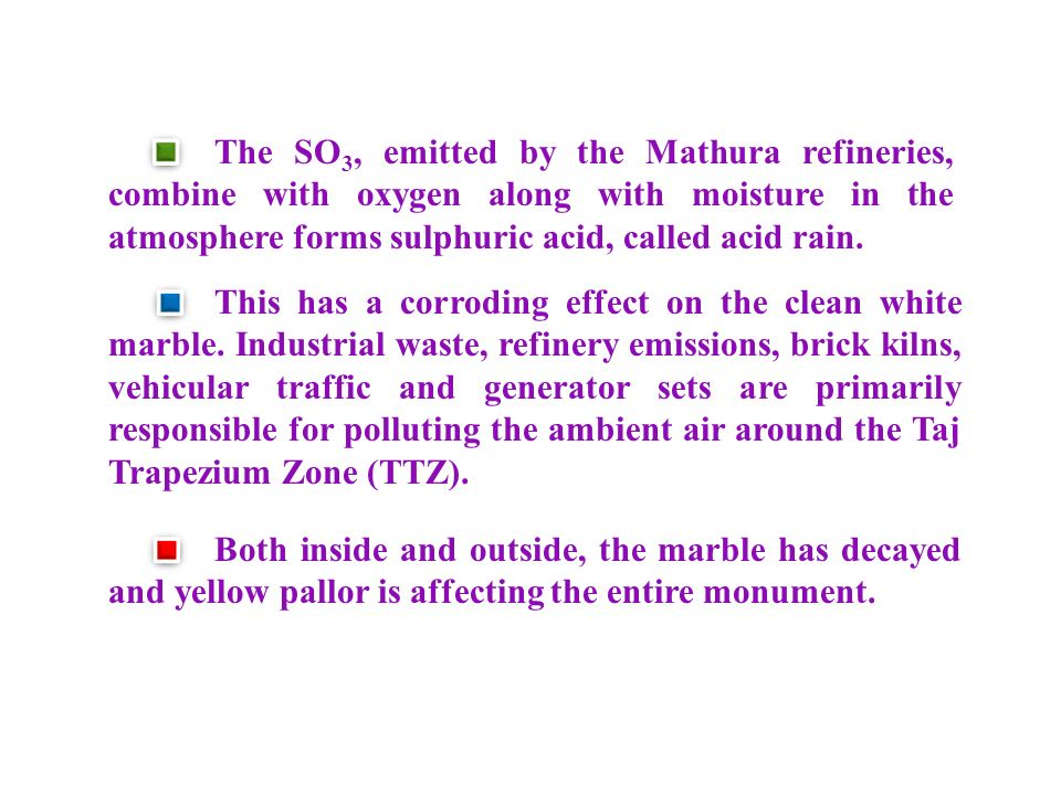 The SO3, emitted by the Mathura refineries, combine with oxygen along with moisture in the atmosphere forms sulphuric acid, called acid rain.