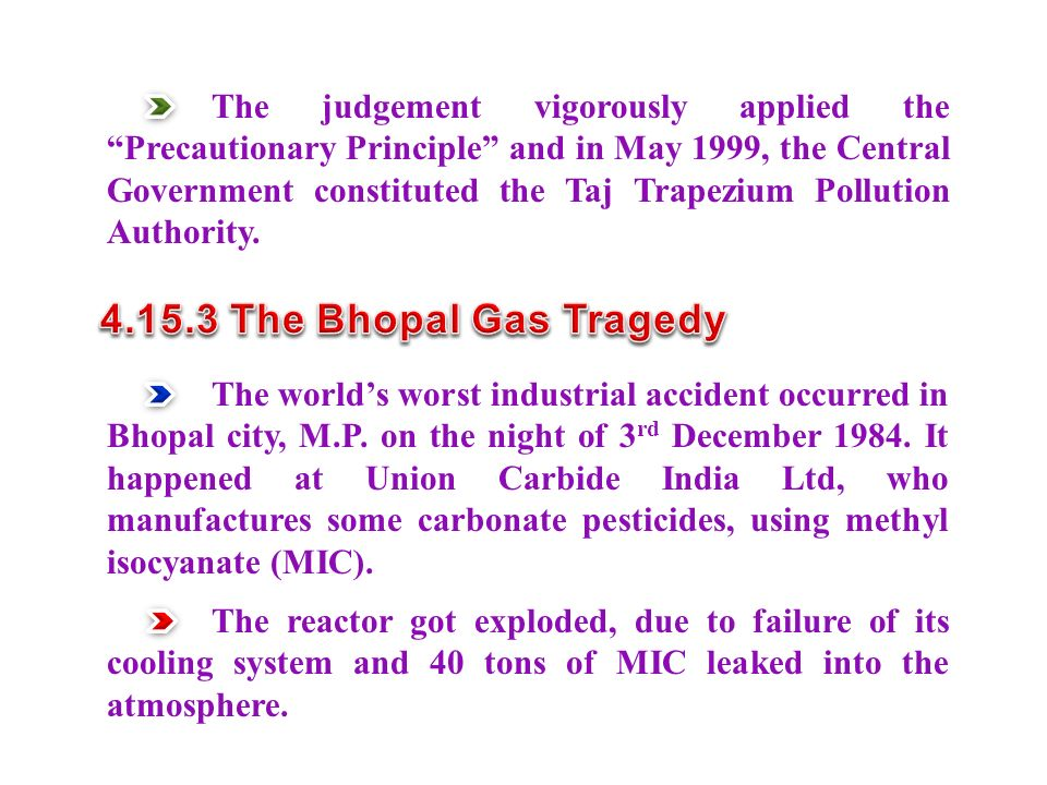 The judgement vigorously applied the Precautionary Principle and in May 1999, the Central Government constituted the Taj Trapezium Pollution Authority.
