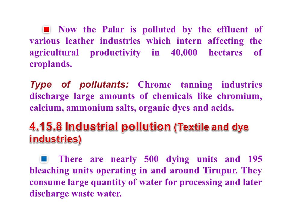 4.15.8 Industrial pollution (Textile and dye industries)