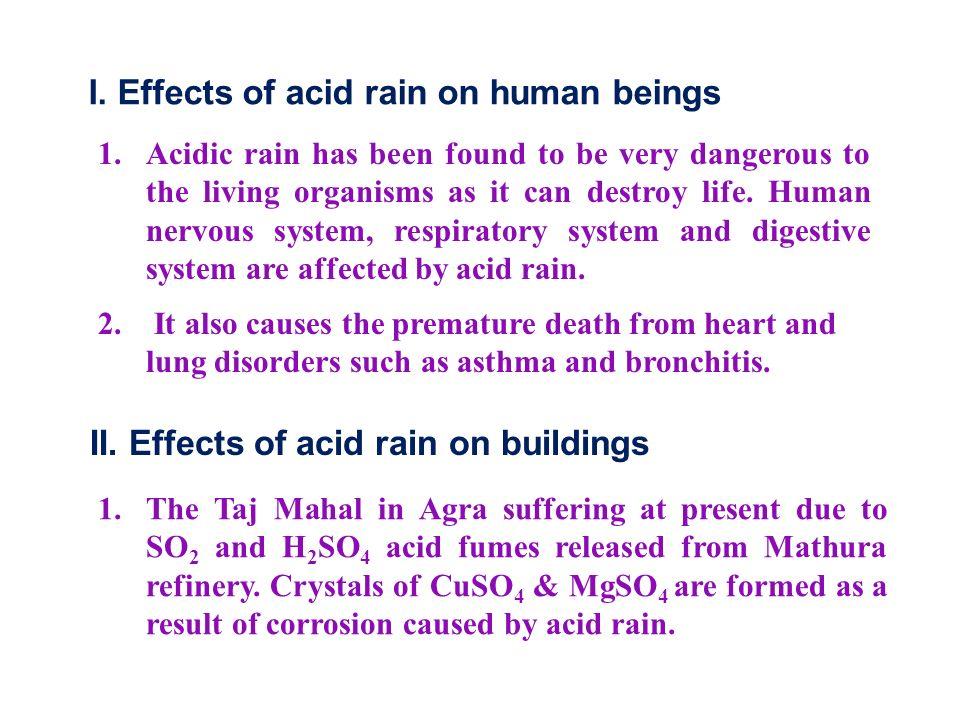 I. Effects of acid rain on human beings