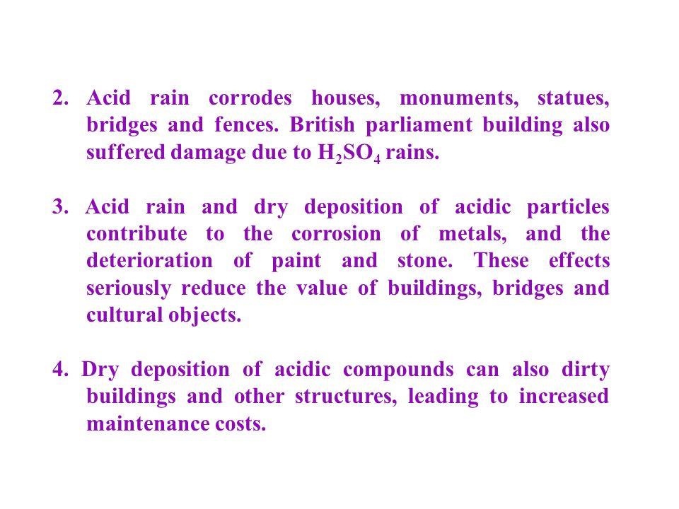 2. Acid rain corrodes houses, monuments, statues, bridges and fences