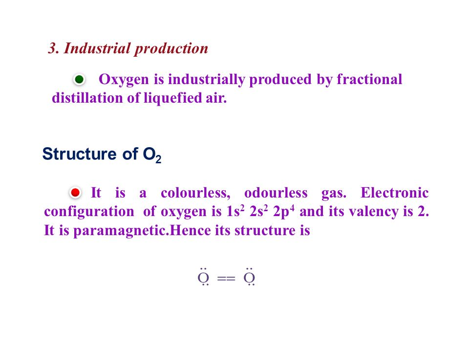 Structure of O2 3. Industrial production
