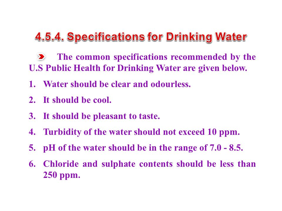 4.5.4. Specifications for Drinking Water