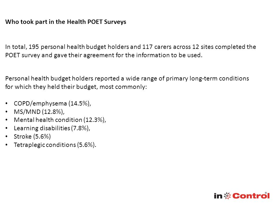Who took part in the Health POET Surveys