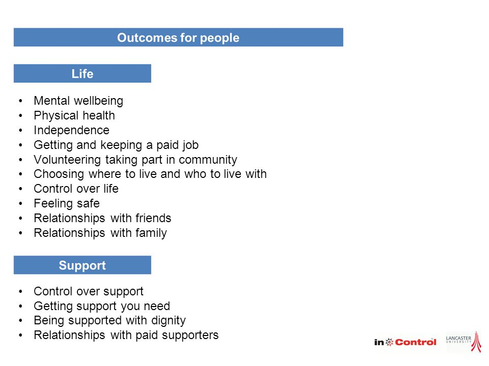 Mental wellbeing Physical health. Independence. Getting and keeping a paid job. Volunteering taking part in community.