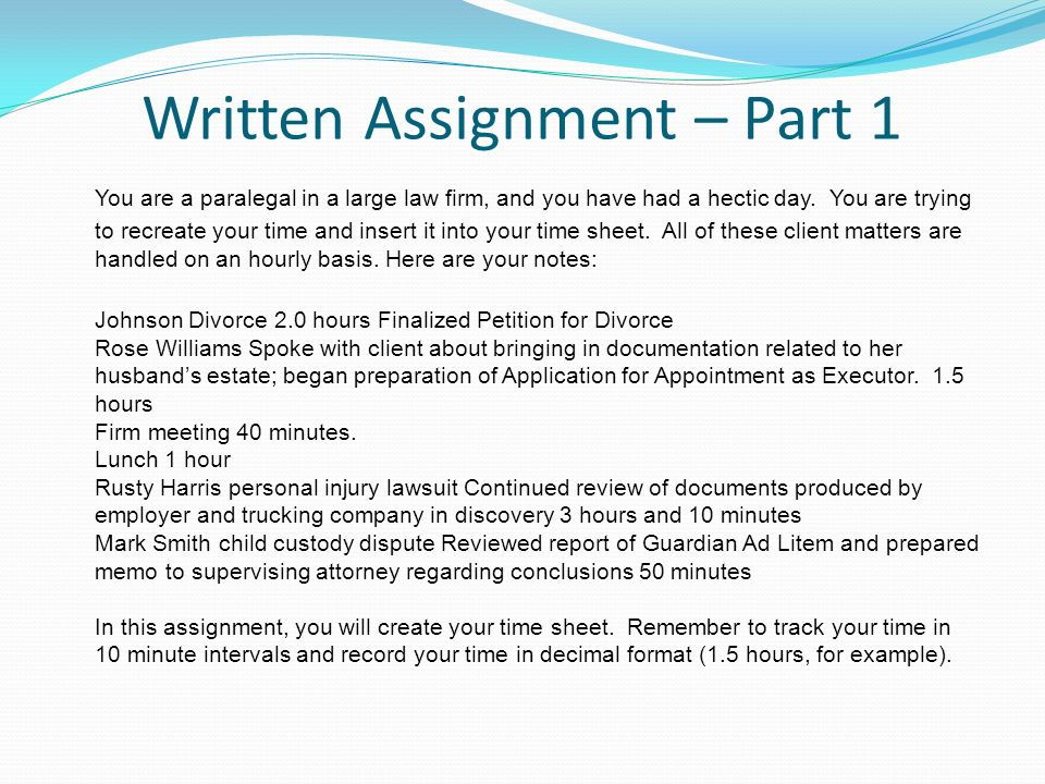 PA 305 Law Office Management Unit 6 Seminar Billable Hours - ppt ...