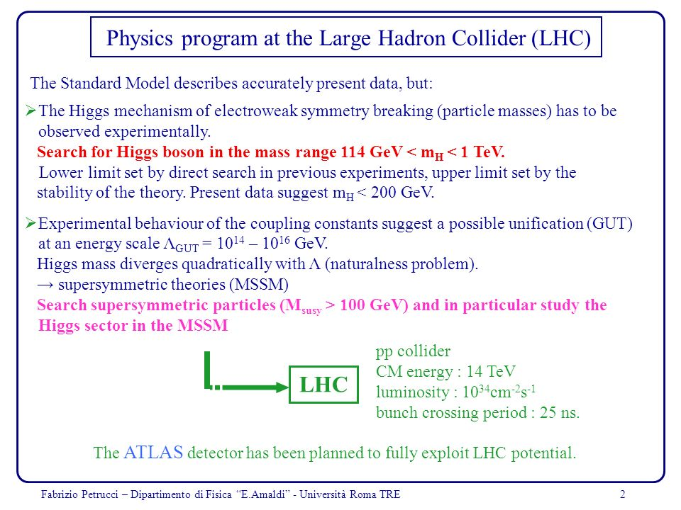 Physics program at the Large Hadron Collider (LHC)