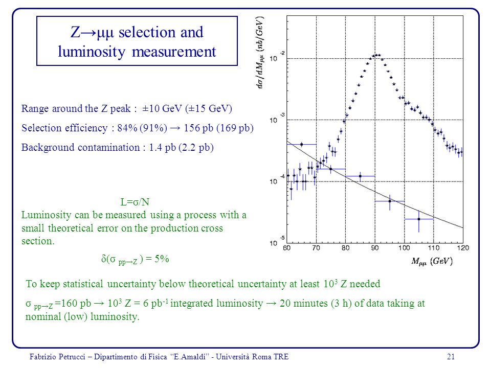 Z→μμ selection and luminosity measurement
