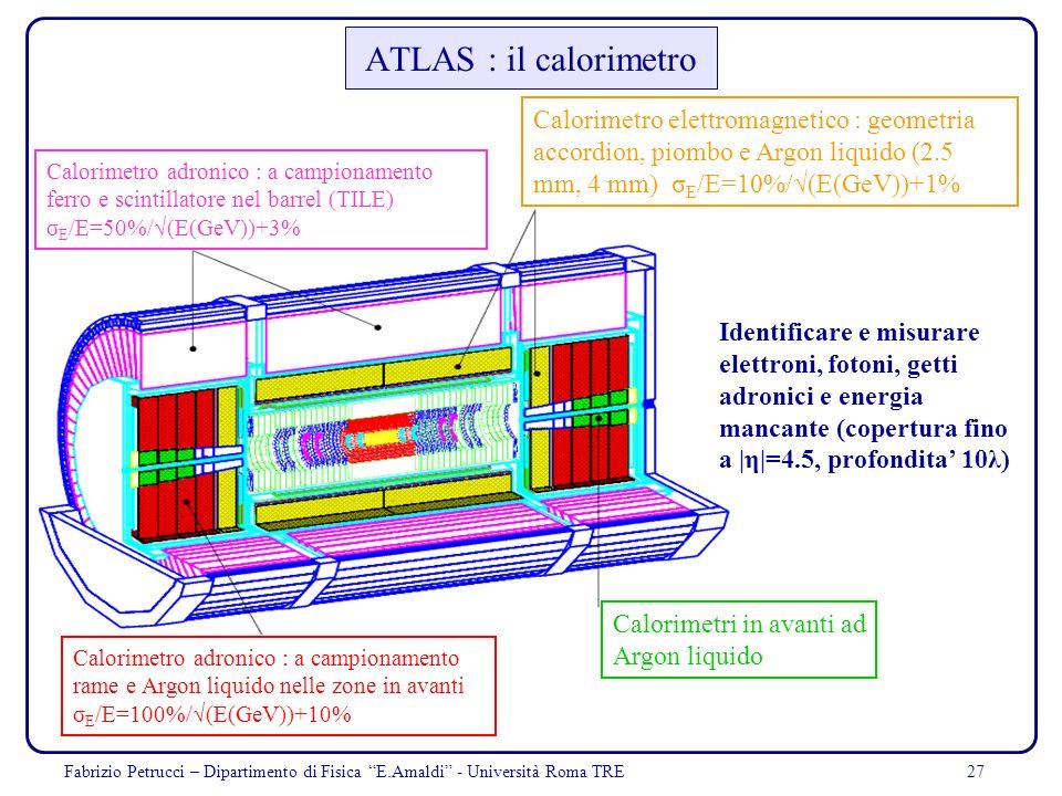 ATLAS : il calorimetro Calorimetro elettromagnetico : geometria accordion, piombo e Argon liquido (2.5 mm, 4 mm) σE/E=10%/√(E(GeV))+1%