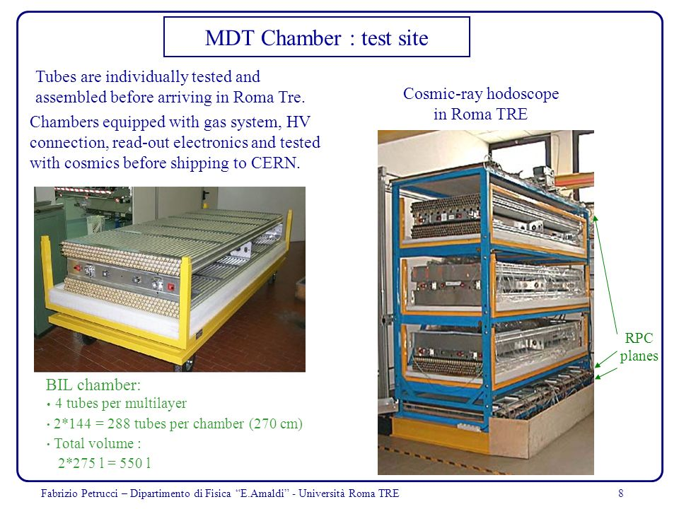 MDT Chamber : test site Tubes are individually tested and assembled before arriving in Roma Tre. Cosmic-ray hodoscope.