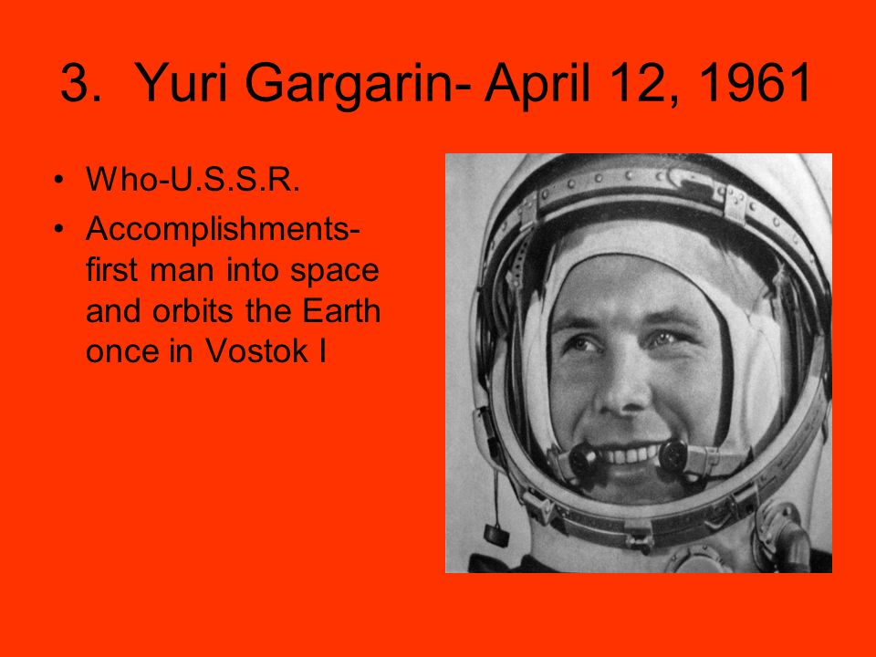 3. Yuri Gargarin- April 12, 1961 Who-U.S.S.R.