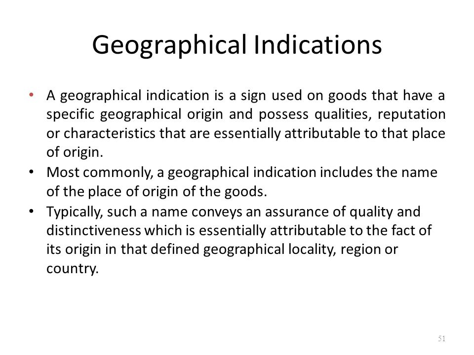 "geographical indications Geographical indication protection in the united states united states patent and trademark office what are ""geographical indications"" ""geographical indications"" (""gis"") are defined at."