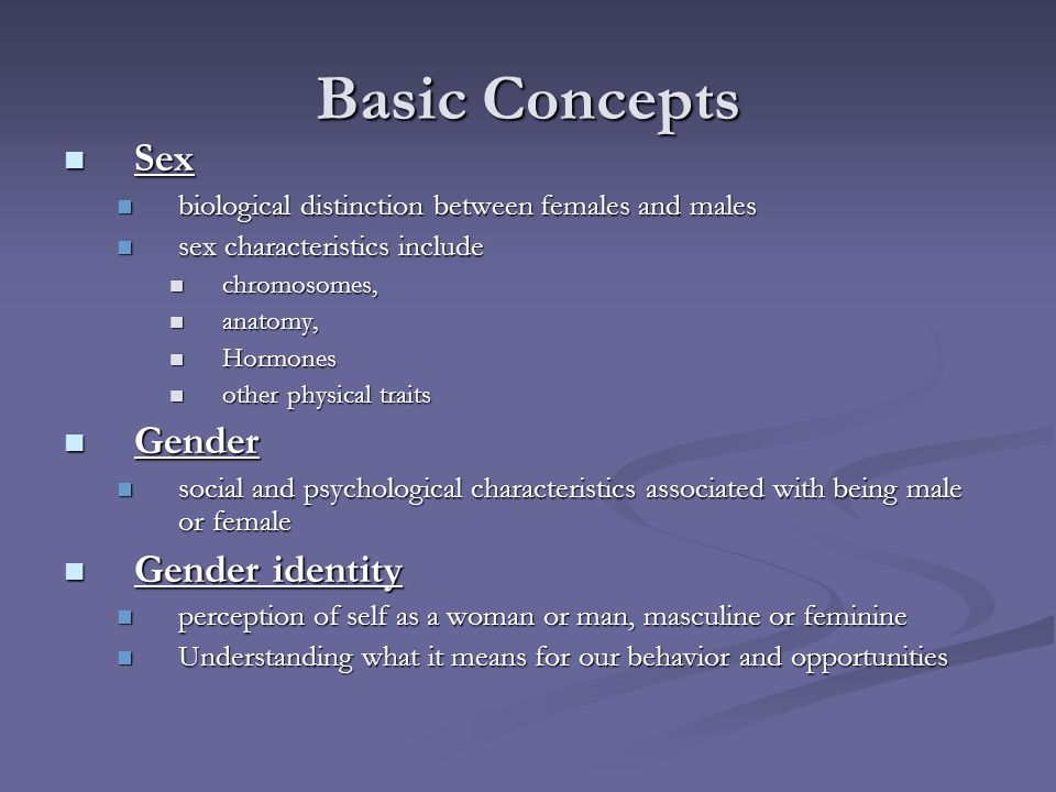 Basic Concepts Sex Gender Gender identity