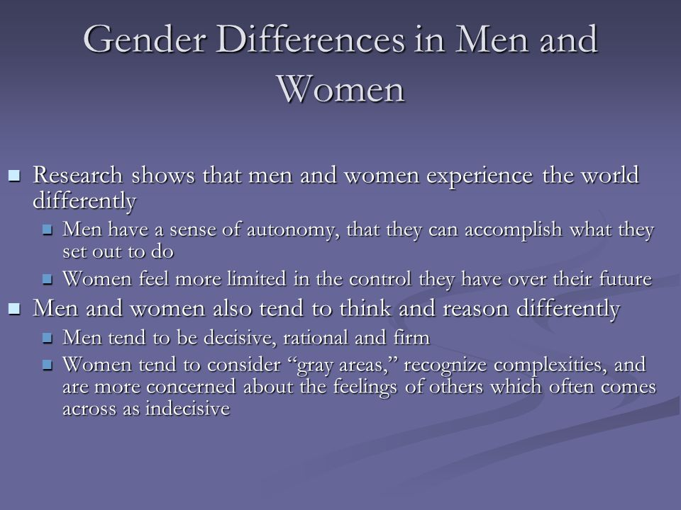 Gender Differences in Men and Women