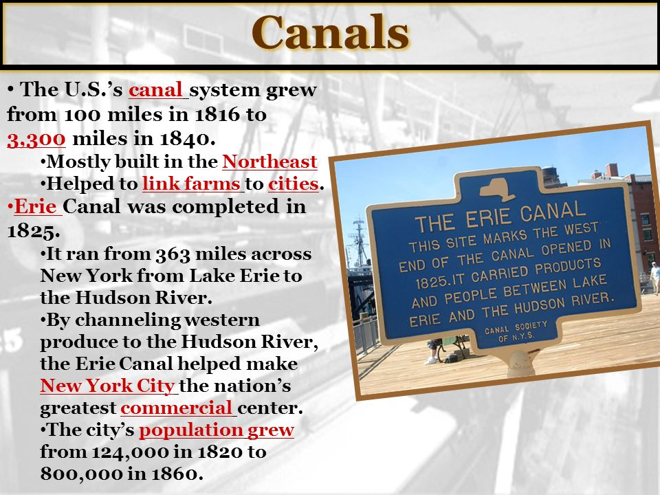 Canals The U.S.'s canal system grew from 100 miles in 1816 to 3,300 miles in Mostly built in the Northeast.