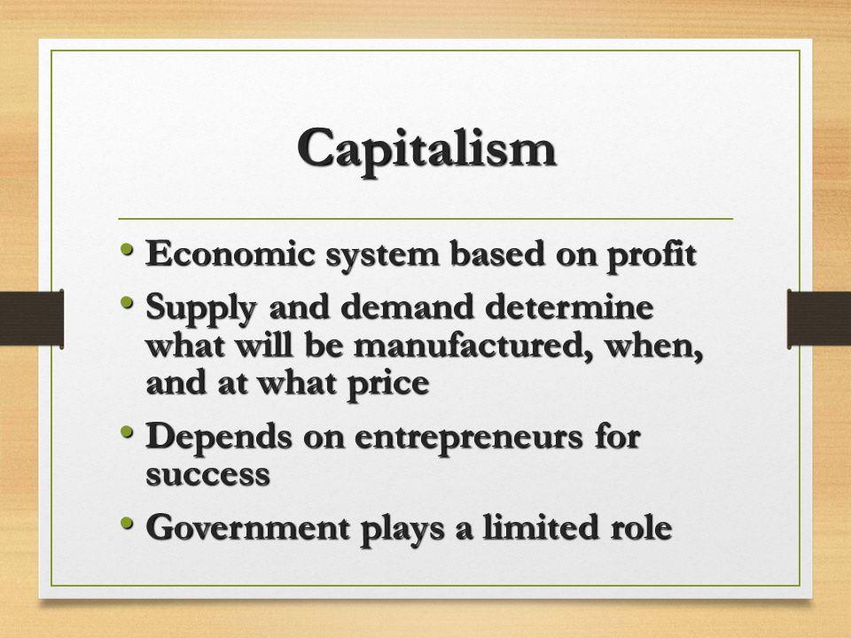 Capitalism Economic system based on profit