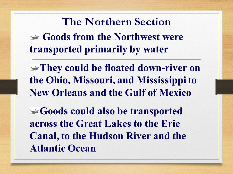 The Northern Section Goods from the Northwest were transported primarily by water.