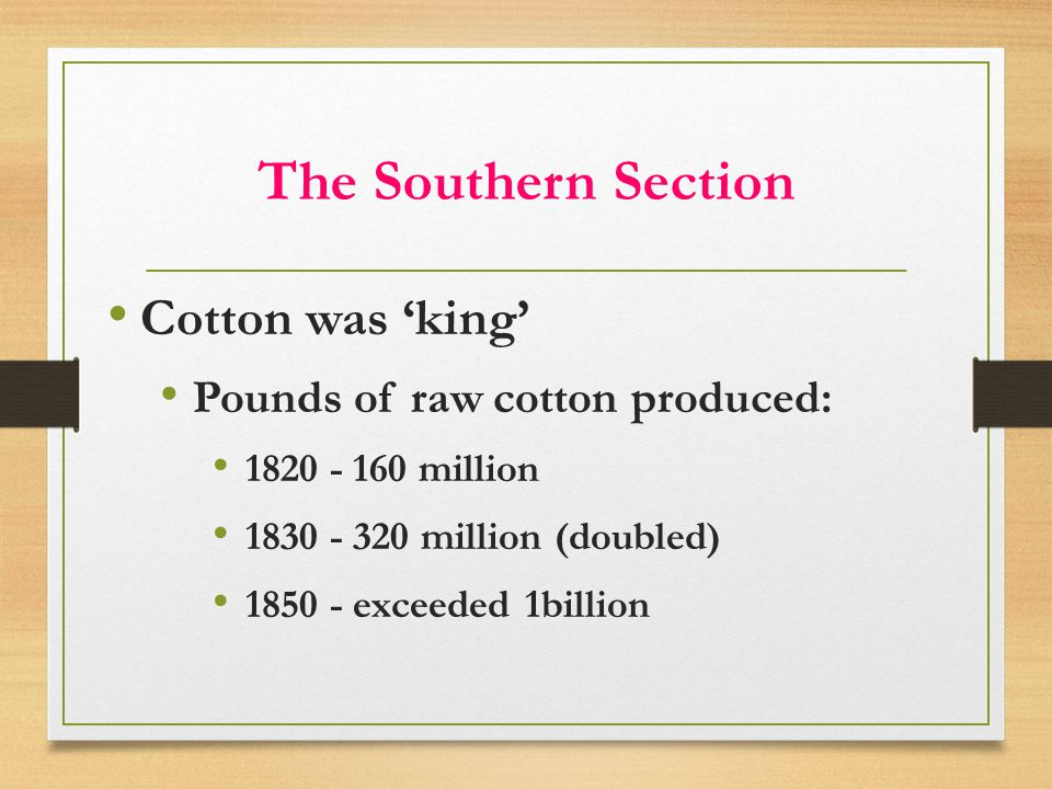The Southern Section Cotton was 'king' Pounds of raw cotton produced: