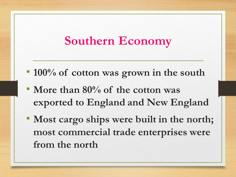 Southern Economy 100% of cotton was grown in the south