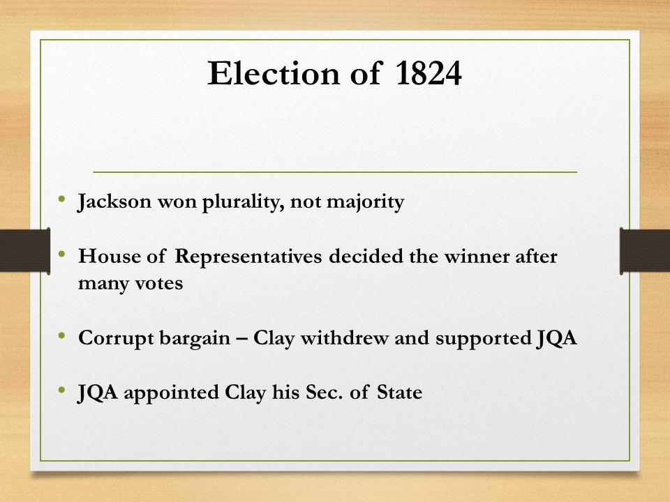 Election of 1824 Jackson won plurality, not majority