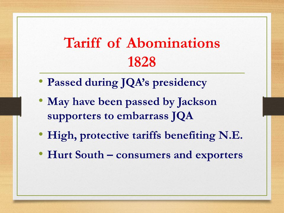 Tariff of Abominations 1828