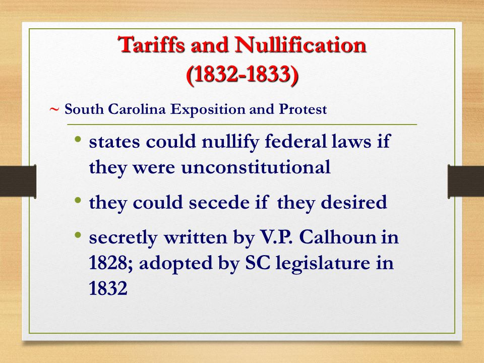 Tariffs and Nullification (1832-1833)