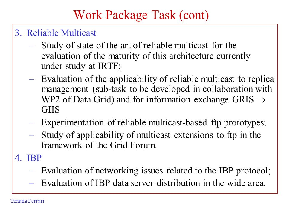Work Package Task (cont)