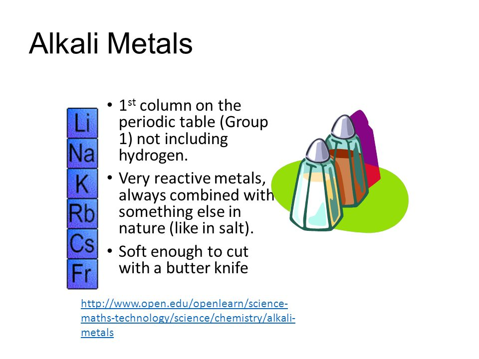 Families on the periodic table ppt video online download 6 alkali metals 1st column on the periodic table urtaz Choice Image