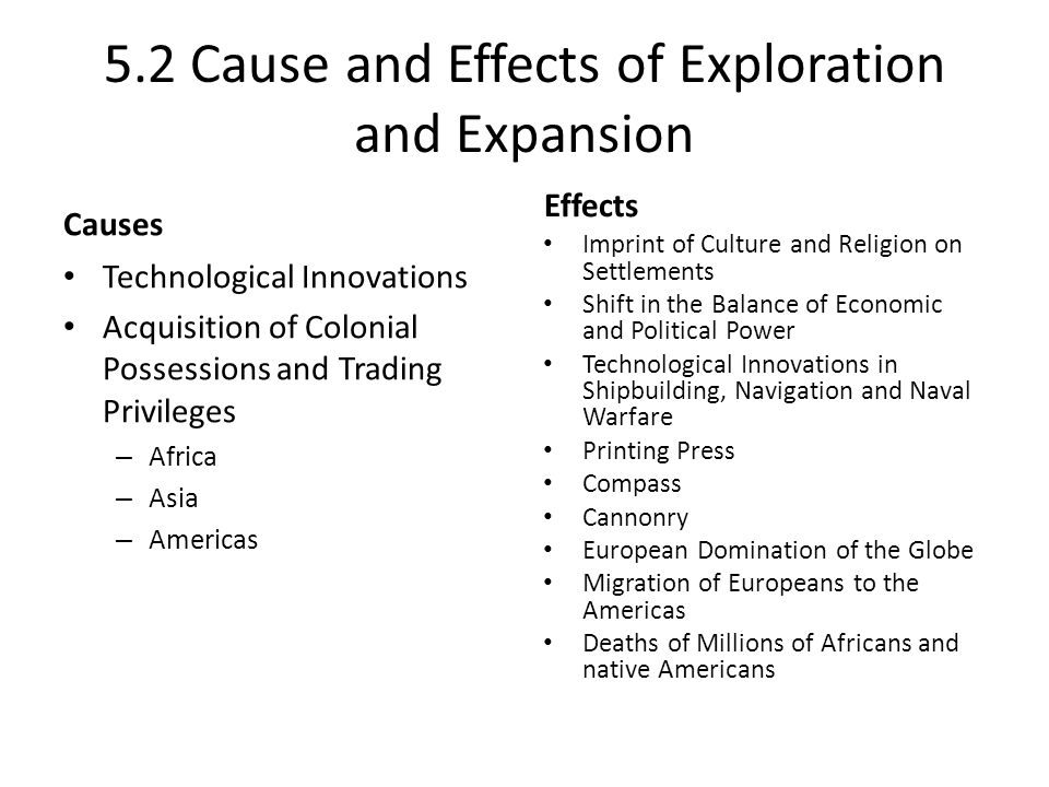 """cause and effects of european exploration and colonization of the new world Of the americas, and the aims and consequences of europeans sailing to the   period not as """"discovery"""" of the americas but as """"exploration,"""" """"colonization,""""."""