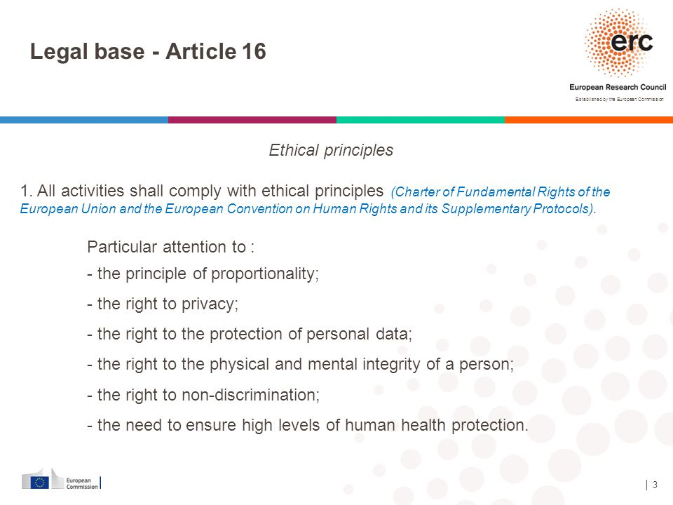 Legal base - Article 16 Ethical principles