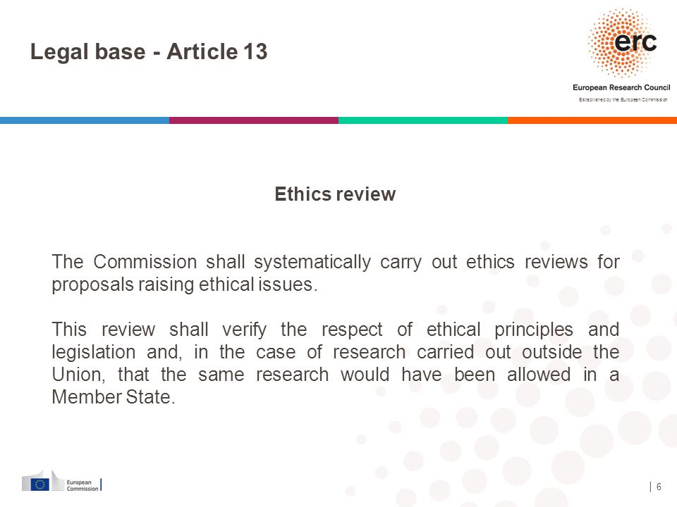Legal base - Article 13 Ethics review