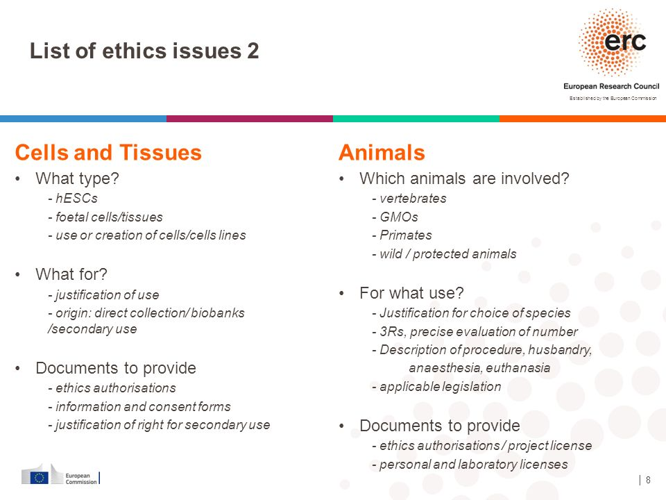 List of ethics issues 2 Cells and Tissues Animals What type What for
