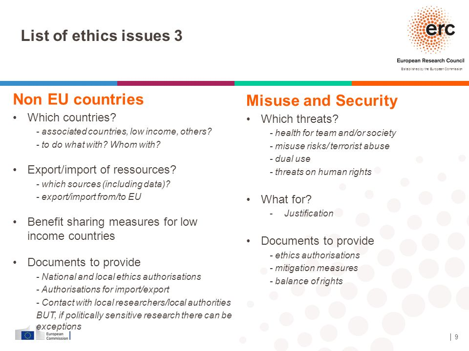 List of ethics issues 3 Non EU countries Misuse and Security
