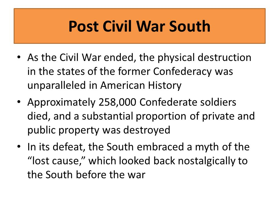 """an introduction to the defeat of the confederacy and the myth of the lost cause For over a century, hollywood has churned out well-executed, slickly produced epics which advanced the lost cause myth of the civil war these are true """"alternative histories,"""" built on."""