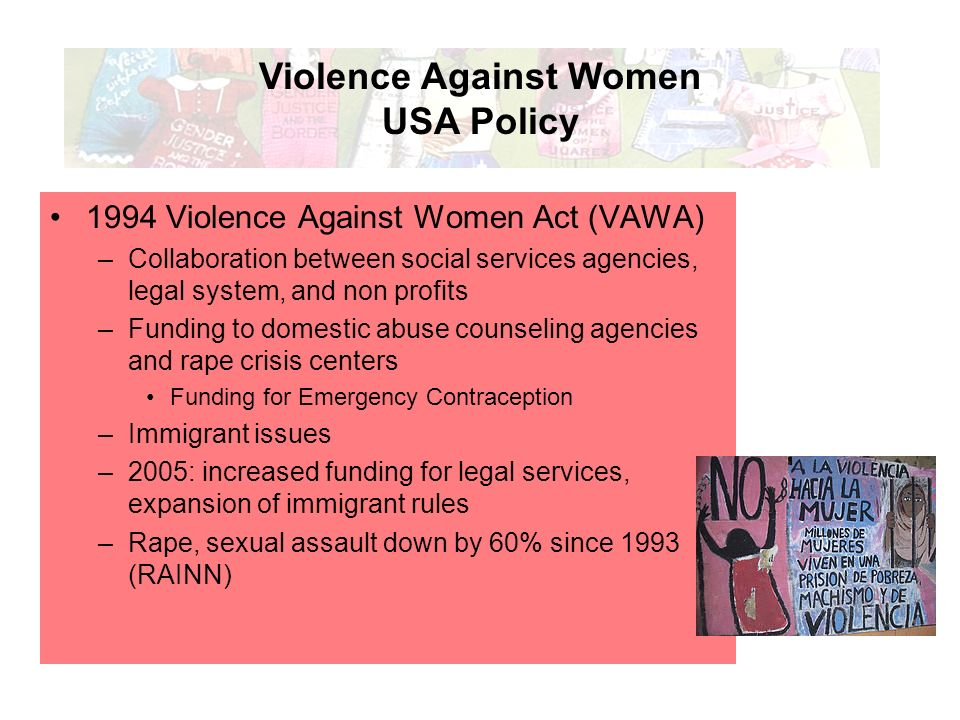 an analysis of the violence against women act The violence against women act was developed and passed as a result of extensive grassroots efforts in the late 1980s and early 1990s, with advocates and professionals from the battered women's movement, sexual assault advocates, victim services field, law enforcement agencies, prosecutors' offices, the courts, and the private bar urging congress to adopt significant legislation to address domestic and sexual violence.