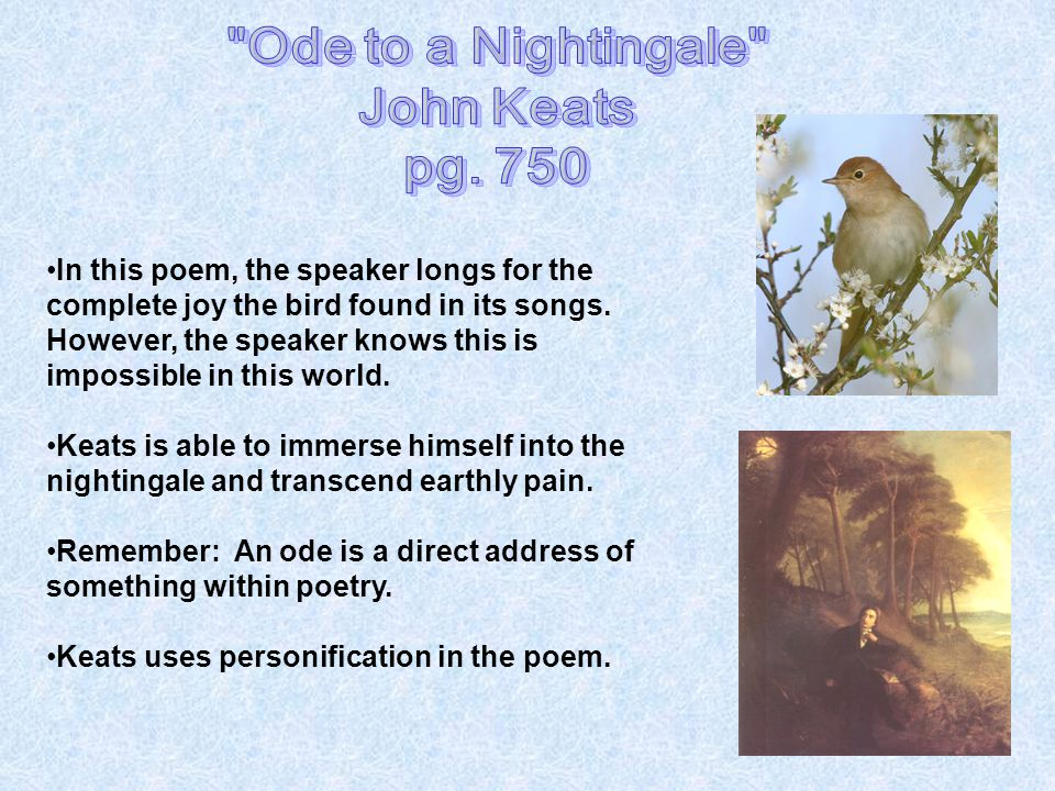 the symbolism and imagery in ode to a nightingale by john keats Ode to a nightingale by john keats home / poetry / ode to a nightingale / literary devices / symbols, imagery, wordplay   ode to a nightingale symbolism, imagery.