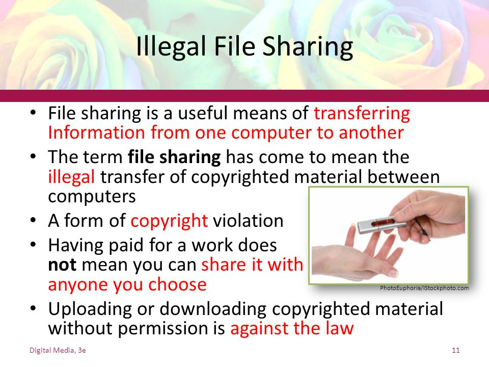 Illegal File Sharing File sharing is a useful means of transferring Information from one computer to another.