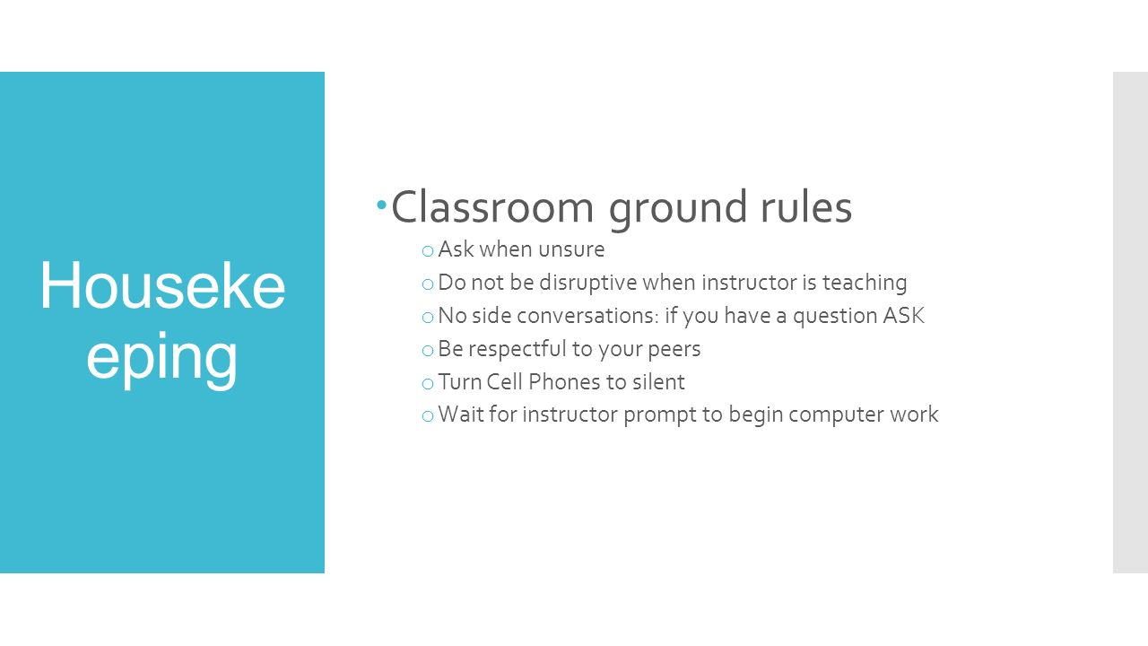 ground rules in teaching The aim of this assignment is to explain ground rules, roles, responsibilities and  boundaries as a lecturer at grantham college in terms of the teaching cycle.