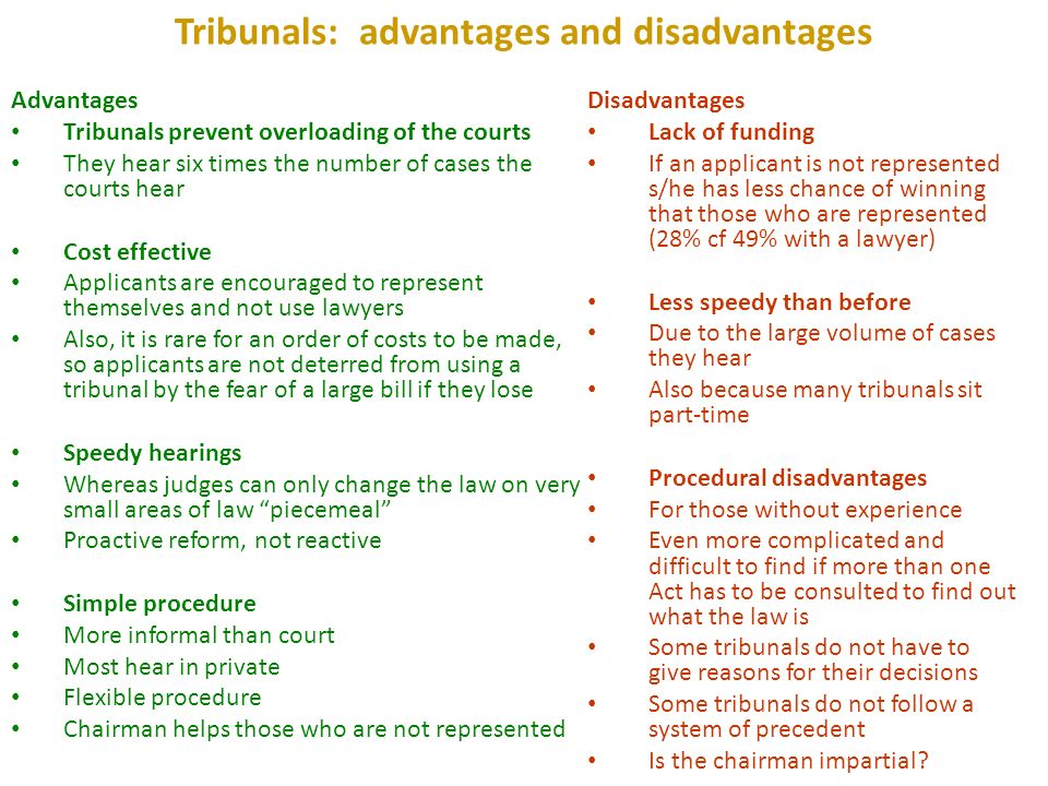 advantages and disadvantages of judicial review There are advantages and disadvantages to the supreme court's power of judicial review the main advantage of judicial review is that it serves a check on the power of congress the founding fathers wanted to be sure that no person or part of government would become too powerful they also wanted each branch to be able to control the other branches.