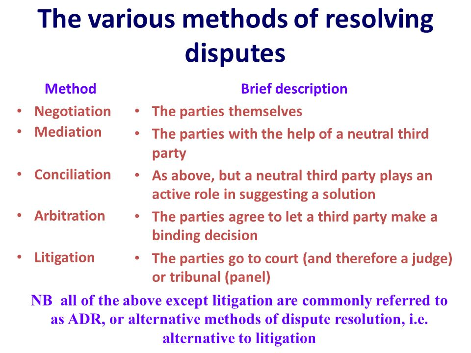 dispute resolution and court