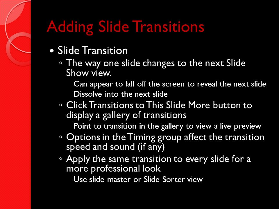 Adding Slide Transitions