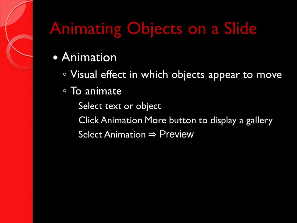 Animating Objects on a Slide