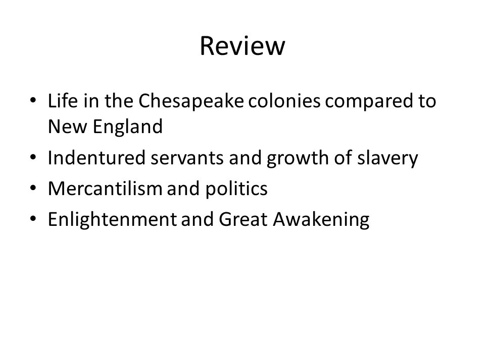 indentured servants in the chesapeake colonies essay Title: microsoft word - apush review- the chesapeake coloniesdocx created date: 9/14/2016 1:34:32 am.