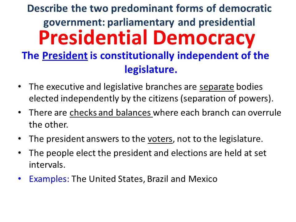 presidential form of government essay Essay about parliamentary and presidential forms of governmentthe white house, home of the president of the united states.