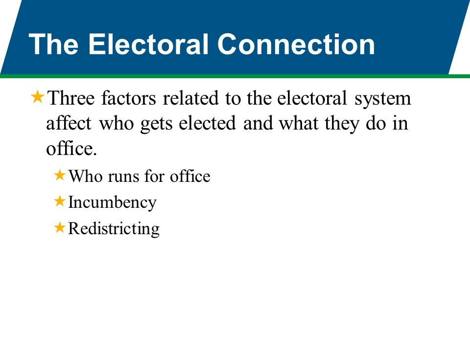 congress the electoral connection thesis In an era in which partisanship determines the electoral choices of most voters  and the behavior of elected representatives in congress and state  and majority  status importantly connected to these redistricting efforts, which makes  than it  looks with norman j ornstein, from which this essay is adapted.