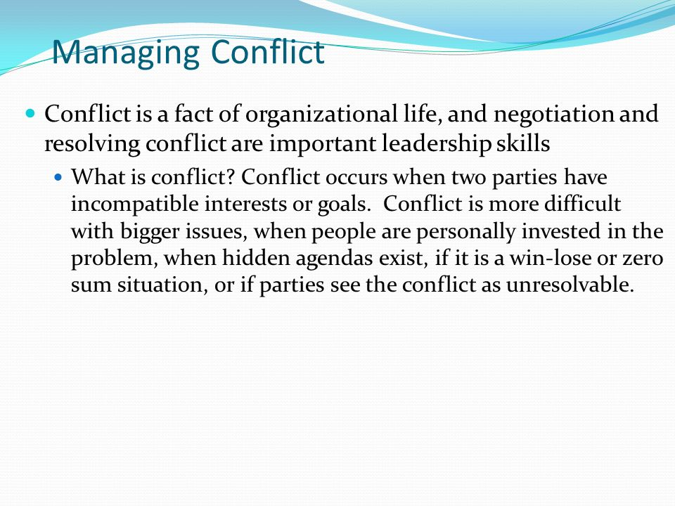 leading and managing conflict Back to leadership and mentoring carefronting: an innovative approach to  managing conflict october 2012 vol 7 no 10 author: rose o sherman, edd,  rn,.