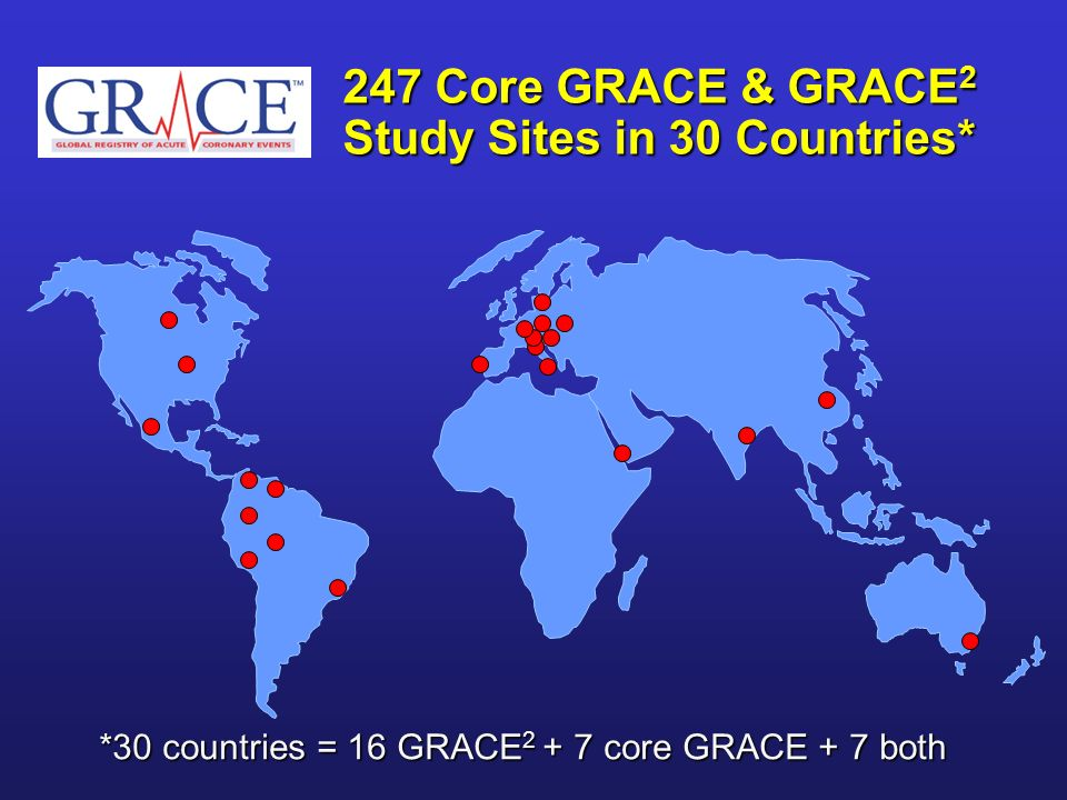 247 Core GRACE & GRACE2 Study Sites in 30 Countries*