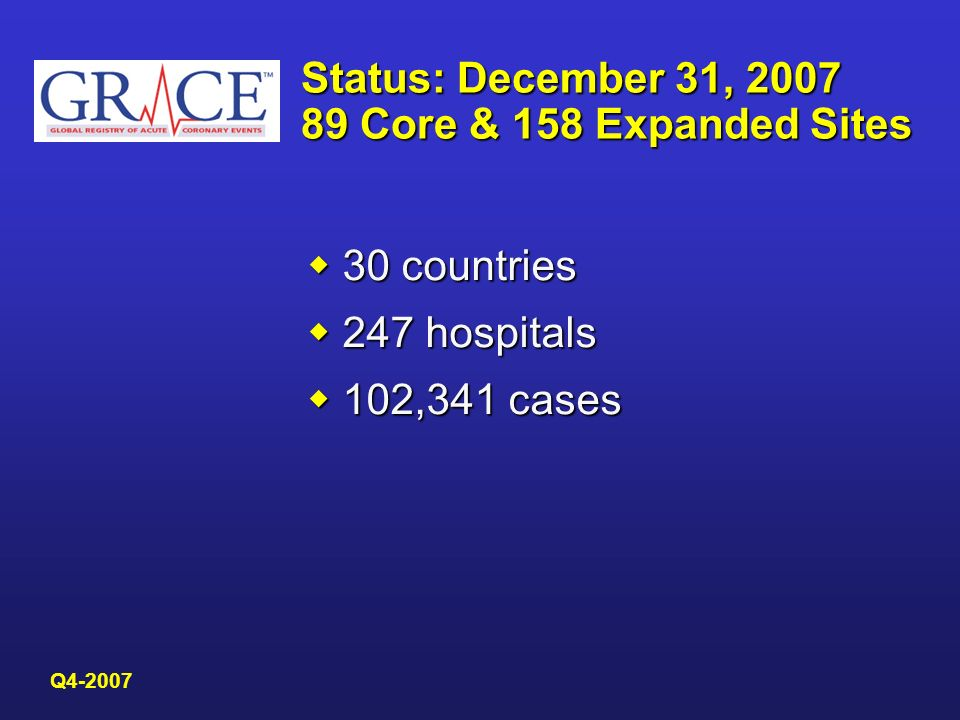 Status: December 31, 2007 89 Core & 158 Expanded Sites