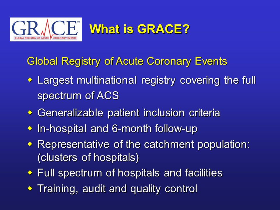 What is GRACE Global Registry of Acute Coronary Events