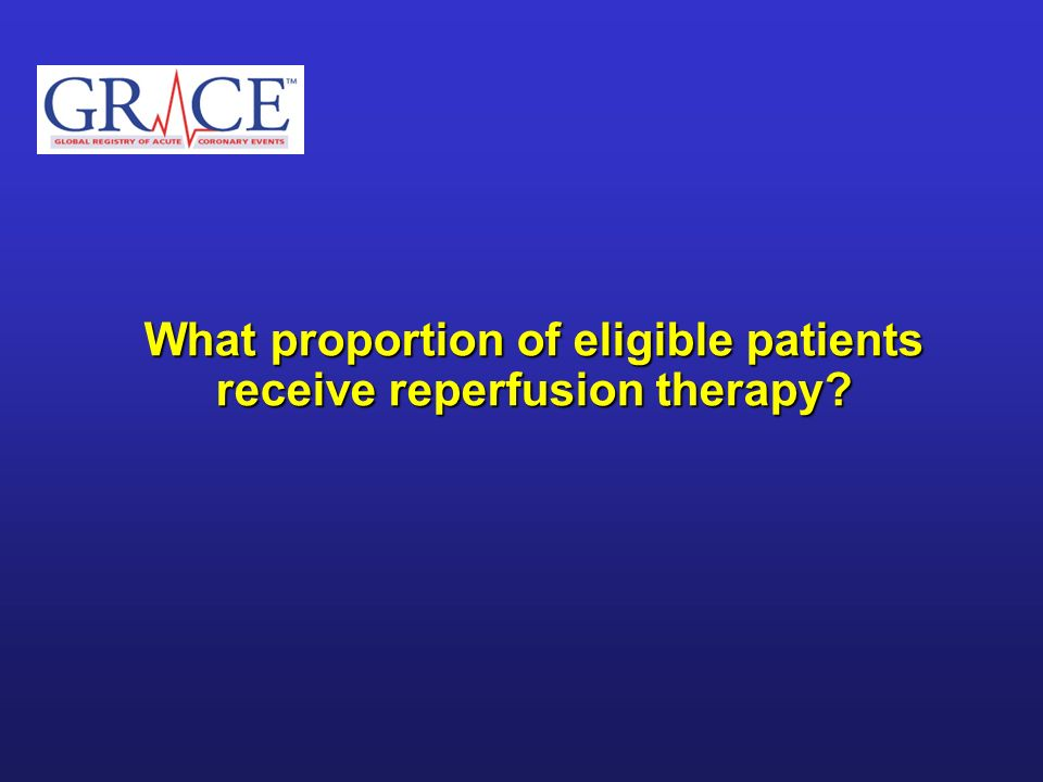 What proportion of eligible patients receive reperfusion therapy